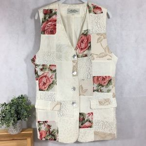Vintage vest great condition long, patches, button